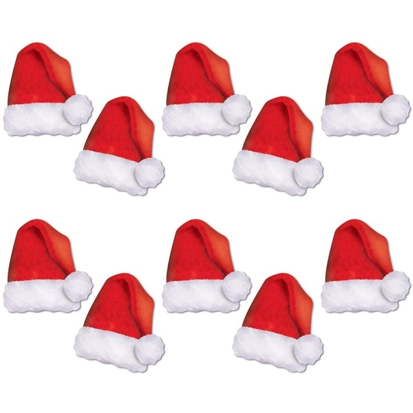 Pack of 120 Mini Red and White Santa Hat Cutouts Christmas Decorations 5""