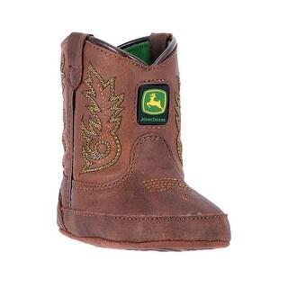 John Deere Western Boots Boys Crib Broad Square Toe Brown