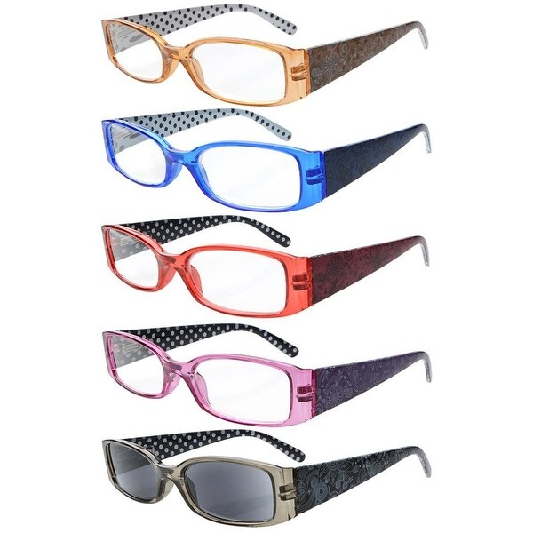 Eyekepper 5-Pack Spring Hinges Polka Dots Patterned Temples Reading Glasses Includes Sun Readers Women +3.0