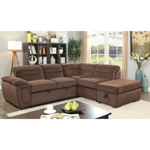 Furniture of America Taif Contemporary Chenille Upholstered Sectional