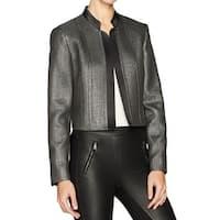 Nine West Silver Women's Size 16 Metallic Open Front Jacket