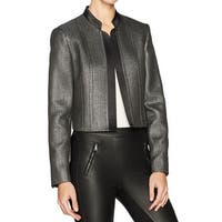 Nine West Silver Women 6 Novelty Metallic Open Front Blazer Jacket
