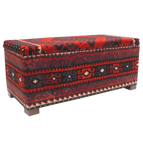 """Vintage Zackary Red Blue Kilim Upholstered Storage Settee - 48""""x22""""x21'"""