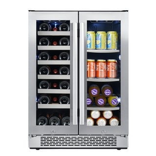 "Avallon AWBC241GGFD  24"" Wide 21 Bottle Capacity 64 Can Capacity Beverage Center with LED Lighting and Double Pane Glass"