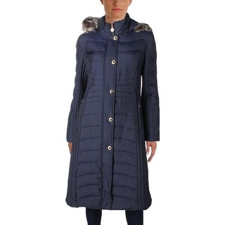 Anne Klein Womens Puffer Coat Down Faux Fur