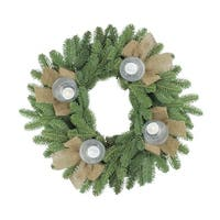 """21"""" Artificial Pine and Burlap Votive Candle Holder"""