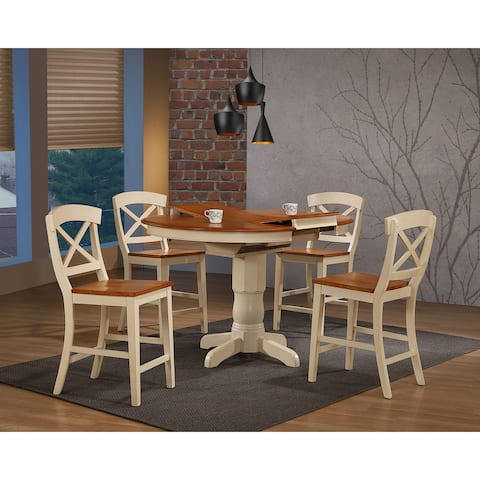 """Iconic Furniture Company 42""""x42""""x60"""" Transitional X-Back 24""""Counter Stool Caramel/ Biscotti Counter Height 5-Piece Dining Set"""