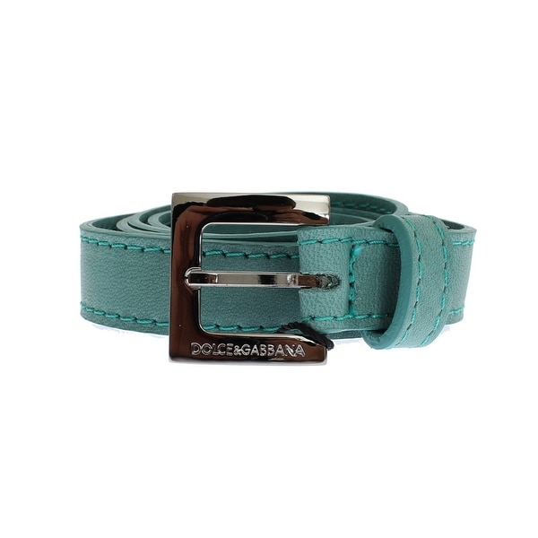 Dolce & Gabbana Dolce & Gabbana Green Leather Silver Buckle Logo Belt