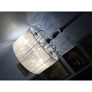 Silver Orchid Bacall Trendy Sheer Shade Floor Lamp and Hanging Crystals