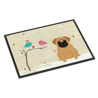 Carolines Treasures BB2479MAT Christmas Presents Between Friends Pug Brown Indoor or Outdoor Mat 18 x 0.25 x 27 in.