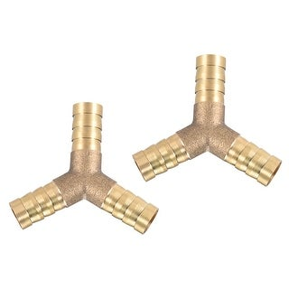 "25/64"" Brass Barb Hose Fitting Tee Y-Shaped 3 Ways Connector Adapter Joiner 2pcs - 10mm 2pcs"