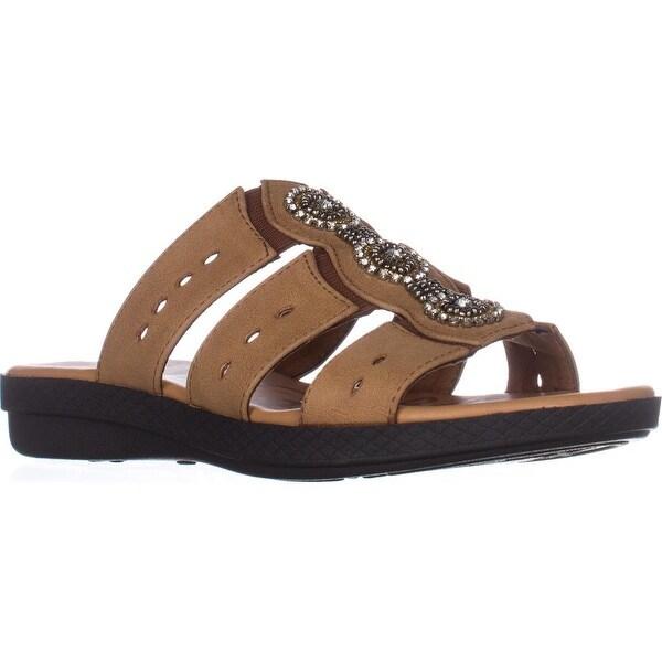 Easy Street Nori Flat Slide Sandals, Luggage - 7.5 us