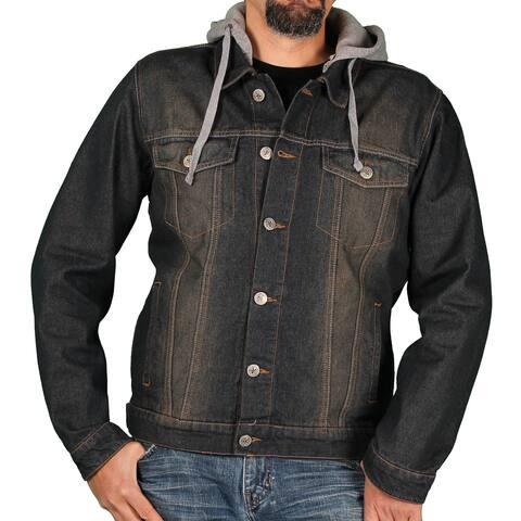 Ablanche Men's Denim Jacket w/Hood