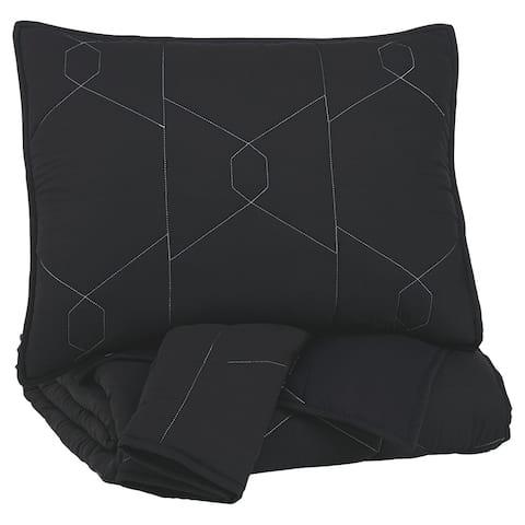 Geometrically stitched Full Size Fabric Comforter set with 2 Shams, Black