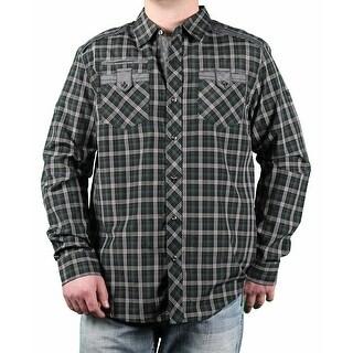 MO7 Men's Yarn-Dyed Plaid Long Sleeve Woven Shirt