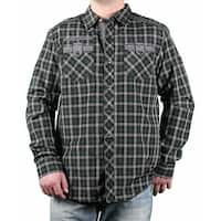 MO7 Men's Yarn-Dyed Plaid Long Sleeve Woven Shirt