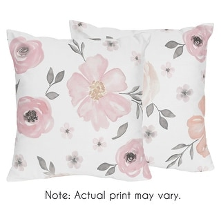 Link to Sweet Jojo Designs Blush Pink, Grey and White Watercolor Floral Collection 18-inch Decorative Throw Pillows (Set of 2) Similar Items in Decorative Accessories