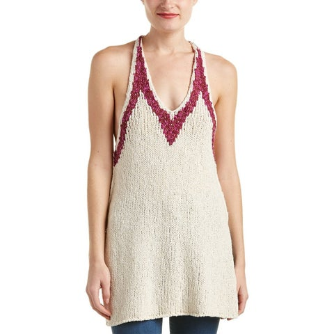 Free People Hold On Knit Racerback Tunic Tank Ivory