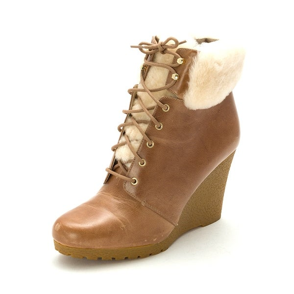 MICHAEL Michael Kors Womens Putnam Wedge Bootie Leather Closed Toe Ankle Cold...