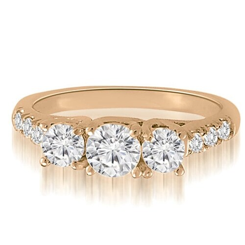 1.21 cttw. 14K Rose Gold Trellis Round Diamond Three-Stone Engagement Ring