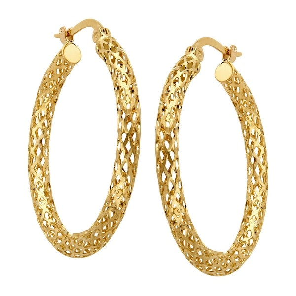 Just Gold Large Openwork Tube Hoop Earrings in 14K Gold - YELLOW