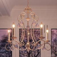 """Luxury French Country Chandelier, 24.5""""H x 28""""W, with Shabby Chic Style, Shimmering Design, Antique Gold Finish"""