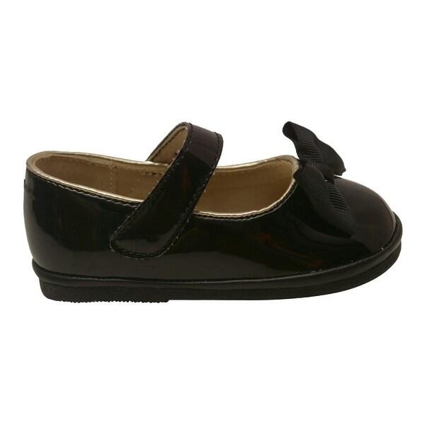 97af26504c3daa Angel Little Girls Black Patent Grosgrain Bow Mary Jane Shoes 5-7 Toddler