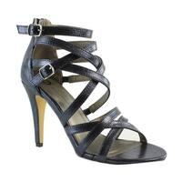 Michael Antonio Womens Rimio-Met-410 Black Open Toe Heels Size 8.5