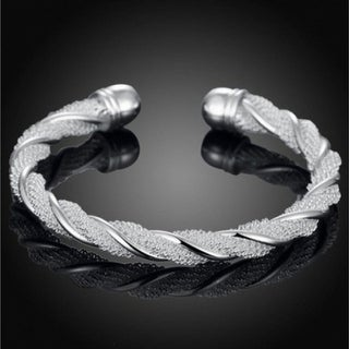 Silver Plated Twisted Mesh Bracelet