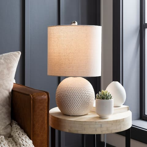 "Moyra Beige Hobnail Ceramic 20-inch Table Lamp - 20""H x 11""W x 11""D"