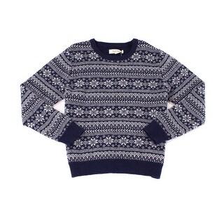 BARQUE NEW Blue Mens Size Large L Fair Isle Crewneck Wool Sweater