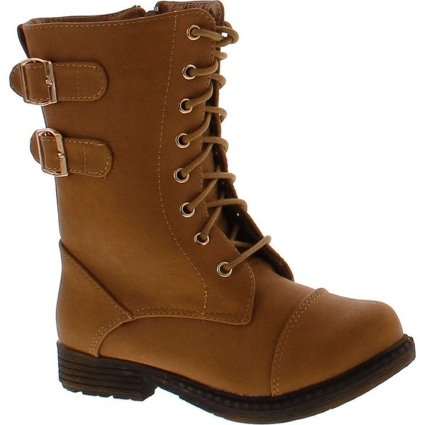 Lucky Top Lash 1 Girls Military Combat Boots - Tan
