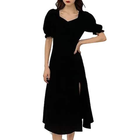 Women Dress Puff Sleeve Split Design Polyester French Style Sexy Summer Dress For Date