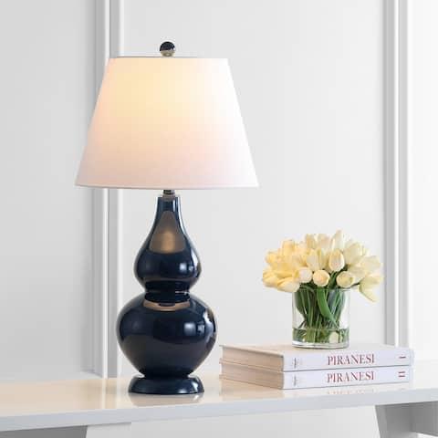 "SAFAVIEH Lighting 27-inch Cybil Double Gourd Navy Table Lamp (Set of 2) - 14""x14""x26"""