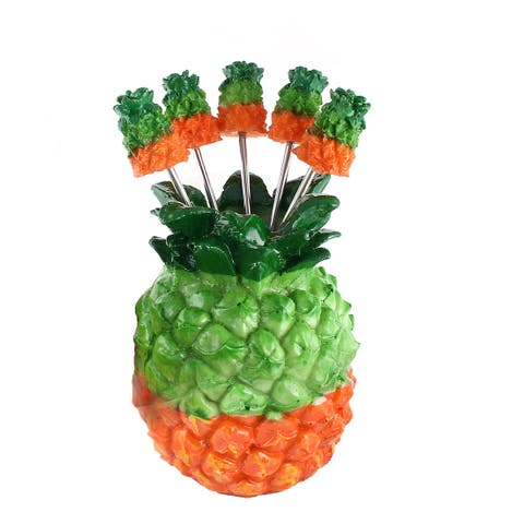 Home Plastic Pineapple Design Dessert Appetiser Fruit Vegetable Fork Holder Set