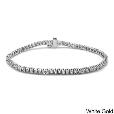 Auriya 1 carat TW Round Diamond Tennis Bracelet 14k Gold - 7-inch