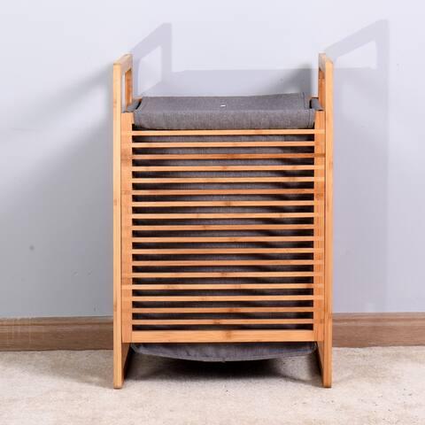 Bathroom Laundry Basket Bamboo Storage Basket - 15.74 x 13.78 x 23.82 inches