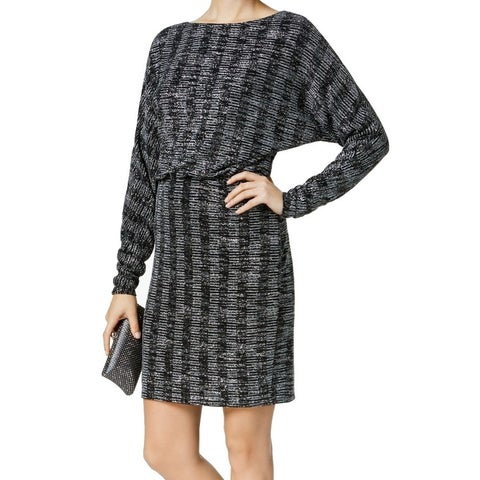 Jessica Howard Black Womens Size 6 Shimmer Blouson Sheath Dress