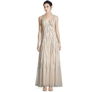Aidan Mattox V-Neck Sequin Beaded Godet Evening Gown Dress - 2