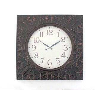 Vintage Square Brass Metal Wall Clock