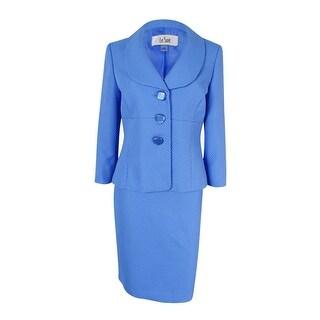 Le Suit Women's Three-Button Shawl-Collar Pique Skirt Suit - Blue - 4