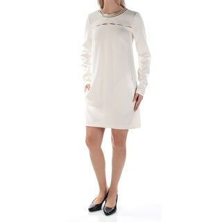Womens White Long Sleeve Above The Knee Shift Casual Dress Size: Size 0