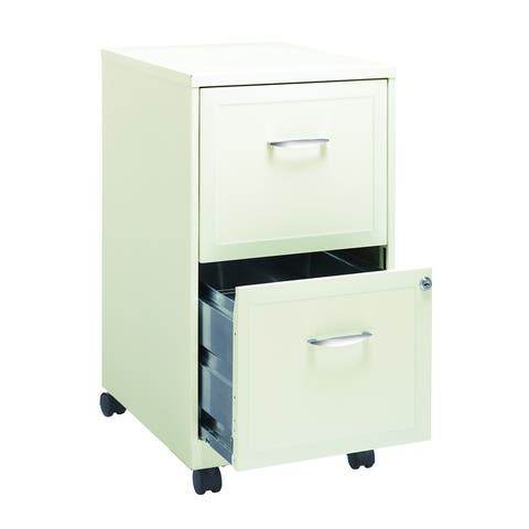 Space Solutions Pearl White 2-drawer Mobile File Cabinet