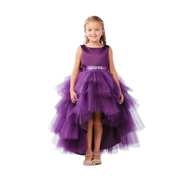 eb3f5d6e57b Shop Little Girls Eggplant Hi-Low Multi Level Ruffle Tutu Flower Girl Dress  - Free Shipping Today - Overstock - 21335719