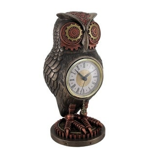 Bronze / Copper Finish Steampunk Owl Mantel Clock