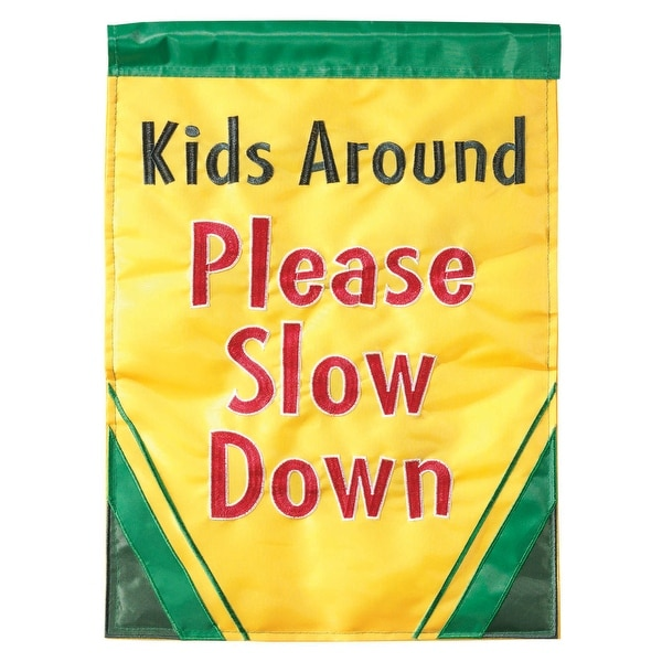 """Green and Yellow """"Please Slow Down"""" Rectangular Garden Flag 42"""" x 29"""" - N/A"""