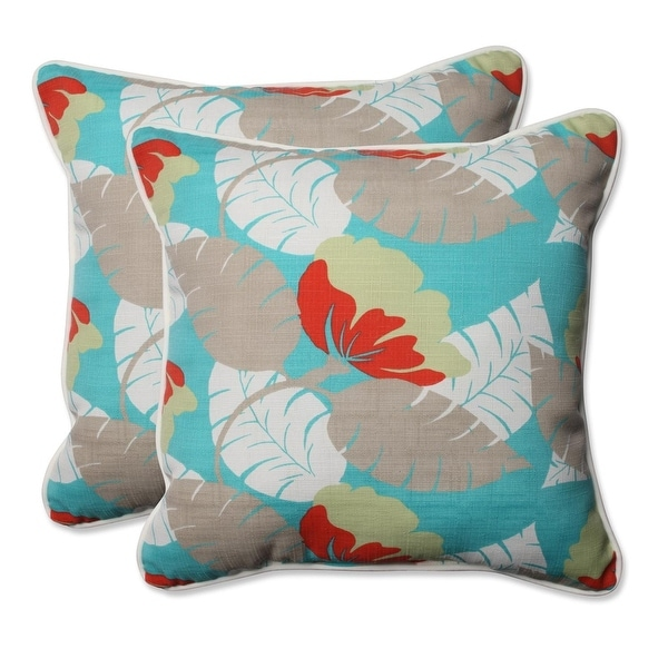 Set Of 2 Leafy Tropics Outdoor Corded Throw Pillows 18 5 Blue