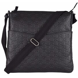 NEW Gucci 374414 Small Black LEATHER GG Guccissima Crossbody Messenger Purse Bag