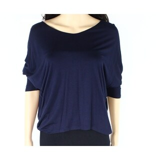 Vince NEW Navy Blue Womens Size XS Scoop-Neck Stretch Hi-Low Blouse