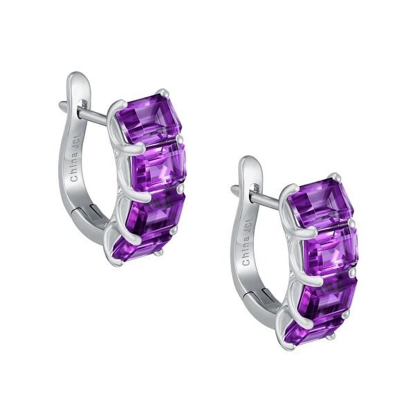 4-Stone Emerald Cut Gemstone Huggie Earrings Ring, Sterling Silver. Opens flyout.